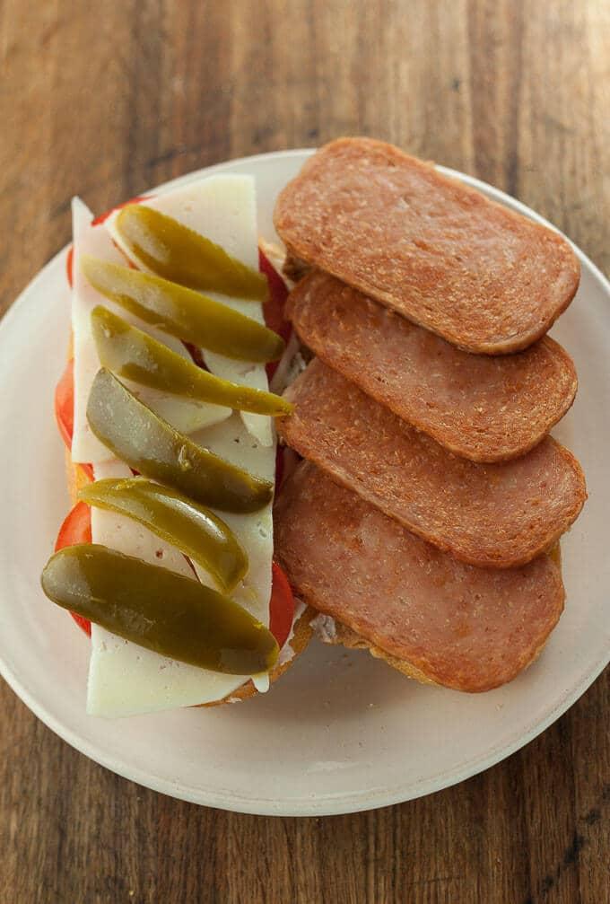 Fried Spam sandwich