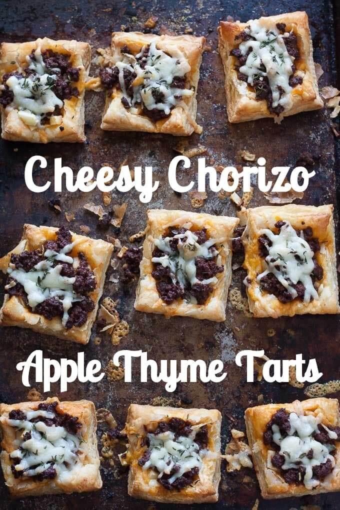 Cheesy Chorizo Apple Thyme Tarts