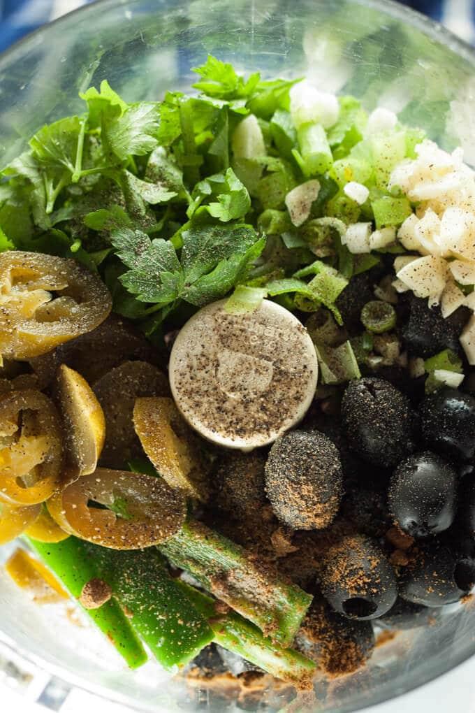 Tapenade ingredients in food processor