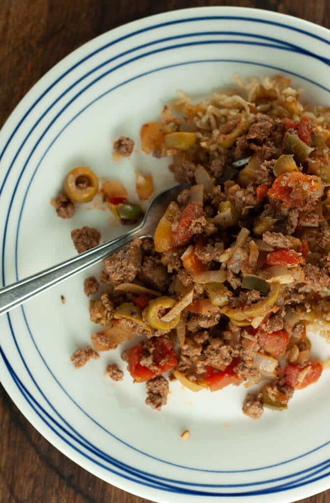 Plated Quick Sauteed Beef and Rice