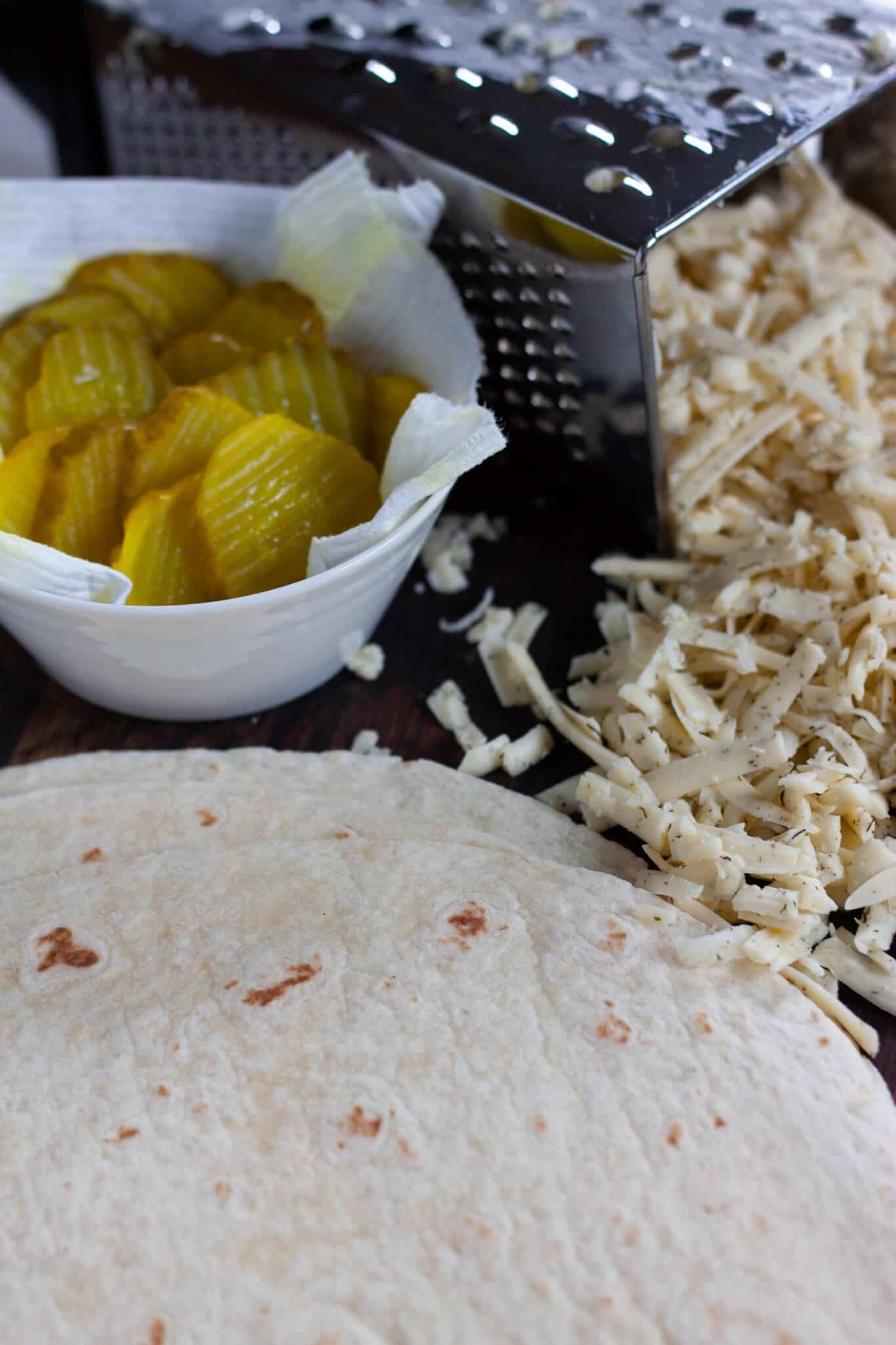 Pickles, Havarti dill cheese, tortilla