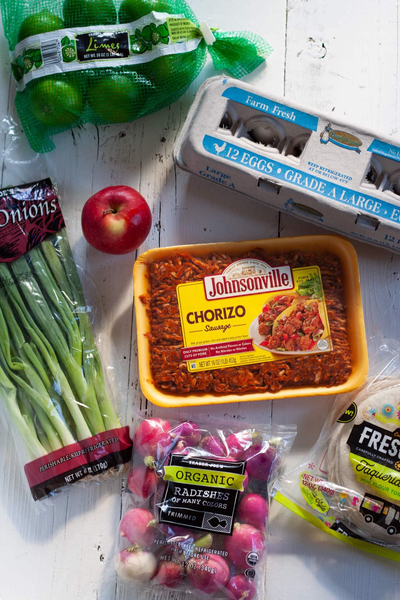 Chorizo Breakfast Tacos and Apple Radish Slaw