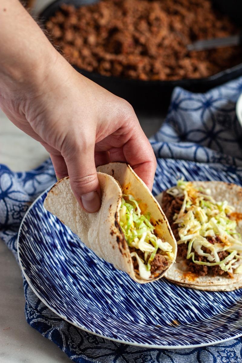 Deer meat tacos