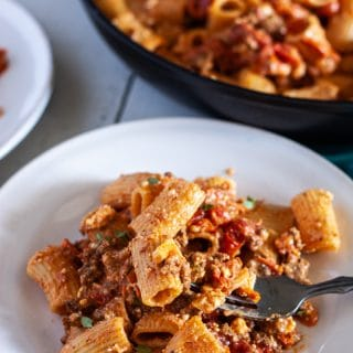 Baked feta pasta with chorizo