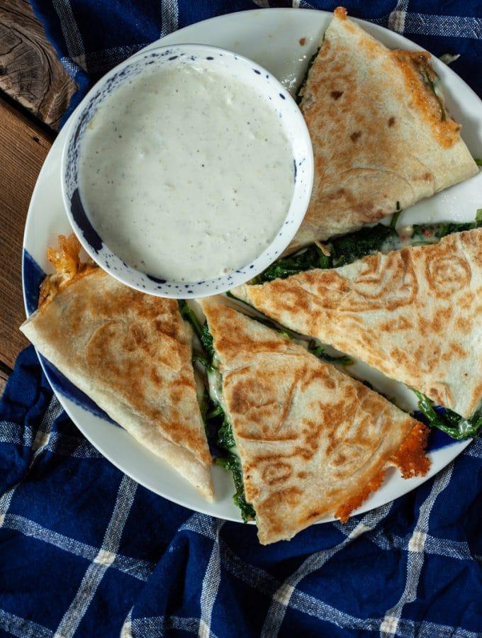 spinach feta quesadilla